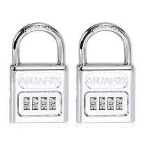ABRAFOX Heavy Duty 4-Digit Set own Combination Locks Short Shackle Padlock sliver-2pack