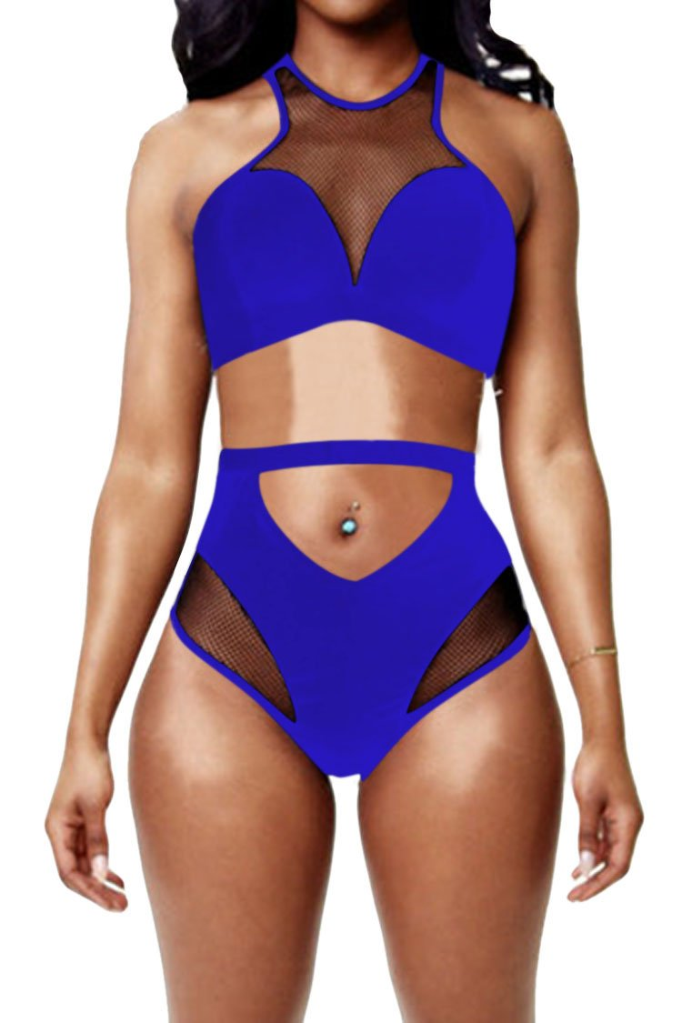 Pink Queen Women's Back Zip Mesh Spicy High-Waist Racer Bikini Swimwear