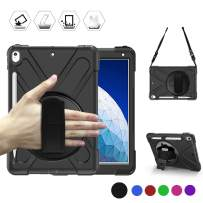 BRAECN iPad Air 10.5 Case 2019,iPad Pro 10.5 Case 2017 - Heavy Duty Shockproof Case Cover with Pencil Holder,Rotating Stand/Hand Strap,Carrying Shoulder Strap Fit iPad Air 3rd Gen case 10.5 -Black