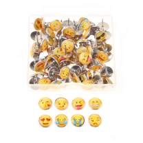 FINGOOO 100PCS Emoji Thumbtacks Face Emotion Drawing Cute Smiley Pushpins for Home, Office Cork Board, Plasterboard,with Clear Storage Box