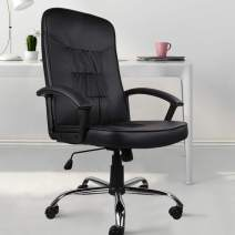 Rimiking Desk Chair Home Office Computer Chair, Leather High Back Swiveling Chair - Black
