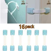 MARKKEER Child Safety Cabinet Locks (6Pack) - Baby Proofing Latches to Drawer, Cabinets, Oven, Fridge, Toilet Seat + Furniture Straps (10 Pack) - Anti Tip Furniture Anchors Kit-Upgrade
