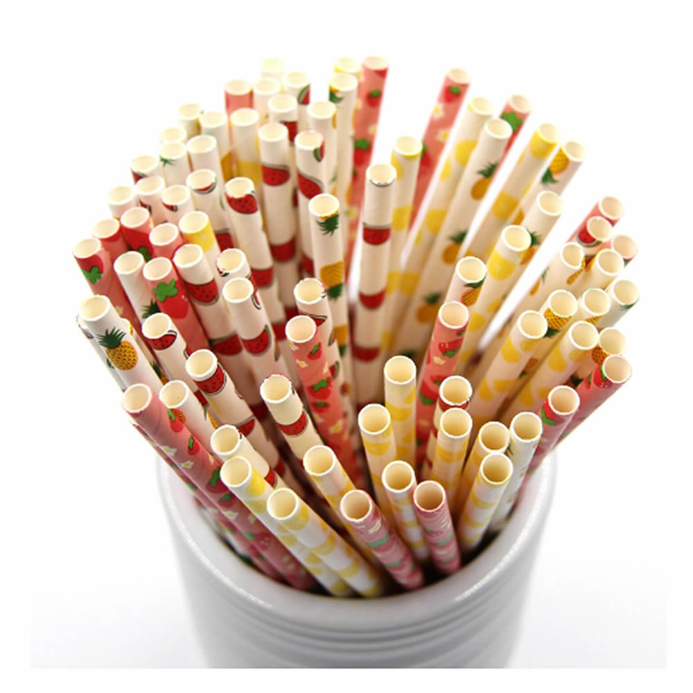 ISKYBOB 100 Pack Fruit Patterned Drinking Paper Straws Disposable Biodegradable,7.48'' Long (Mix)