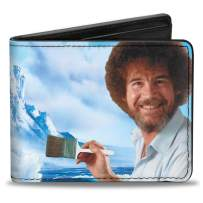 Buckle-Down PU Bifold Wallet - Bob Ross Painting Pose/Mountains Landscape
