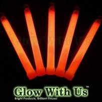 """Glow With Us Glow Sticks Bulk Wholesale, 1000 6"""" Industrial Grade Orange Light Sticks+400 Free Glow Bracelets! Bright Color, Glow 12-14 Hrs, Safety Glow Stick with 3-Year Shelf Life, Brand"""