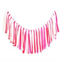 AZOWA Assembled Fabric Ribbon Banner Cotton Tassel Garland Bunting Pink for Wedding Bridral Shower Bachelor Party Engagement Decorations Party Supplies Backdrops Photo Props