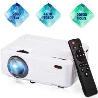 """Mini Projector,Movie Portable Projector, Smartphone Video Projector 1080P Supported 200"""" Display, 55,000 Hrs Led Projector Compatible with Laptop/HDMI/VGA/USB Home Entertainment"""