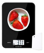 Digital Kitchen Scale Multifunction Food Scale,17.6lb 8kg,Baking Scale with Dough Scraper for Cooking by NUTRI FIT,Large Display,Easy to Clean,Ultra Slim (Black)