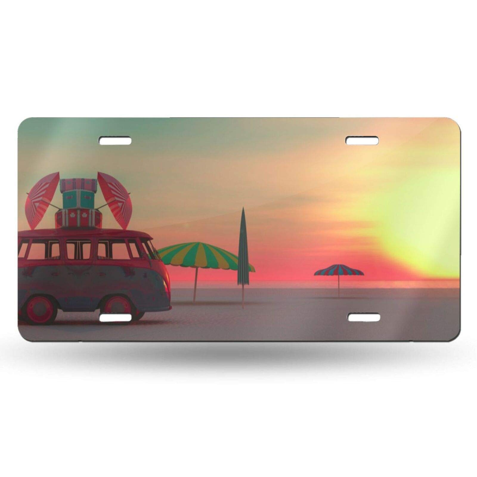 OHDS Summer Blue Bus on The Beach Pattern Decorative Car Front License Plate, The Ocean at Sunrise Car Tag, Metal Vanity Plate, Novelty Aluminum Lincense Plate for Man & Women, 6 X 12 Inch