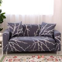 Ihoming Printed Stretch Sofa Slipcover Loveseat Slipcover Couch Cover with 2 Free Pillow Covers, 2/3/4/ Seat Sofa Covers Navy (Loveseat, White Branch)