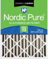 Nordic Pure 18x24x4 MERV 13 Pleated Plus Carbon AC Furnace Air Filters 6 Pack