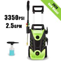 Homdox 3350 PSI Electric Pressure Washer 2.5 GPM High Pressure Washer 1800W Electric Power Washer Cleaner with 4 Nozzles (Green)