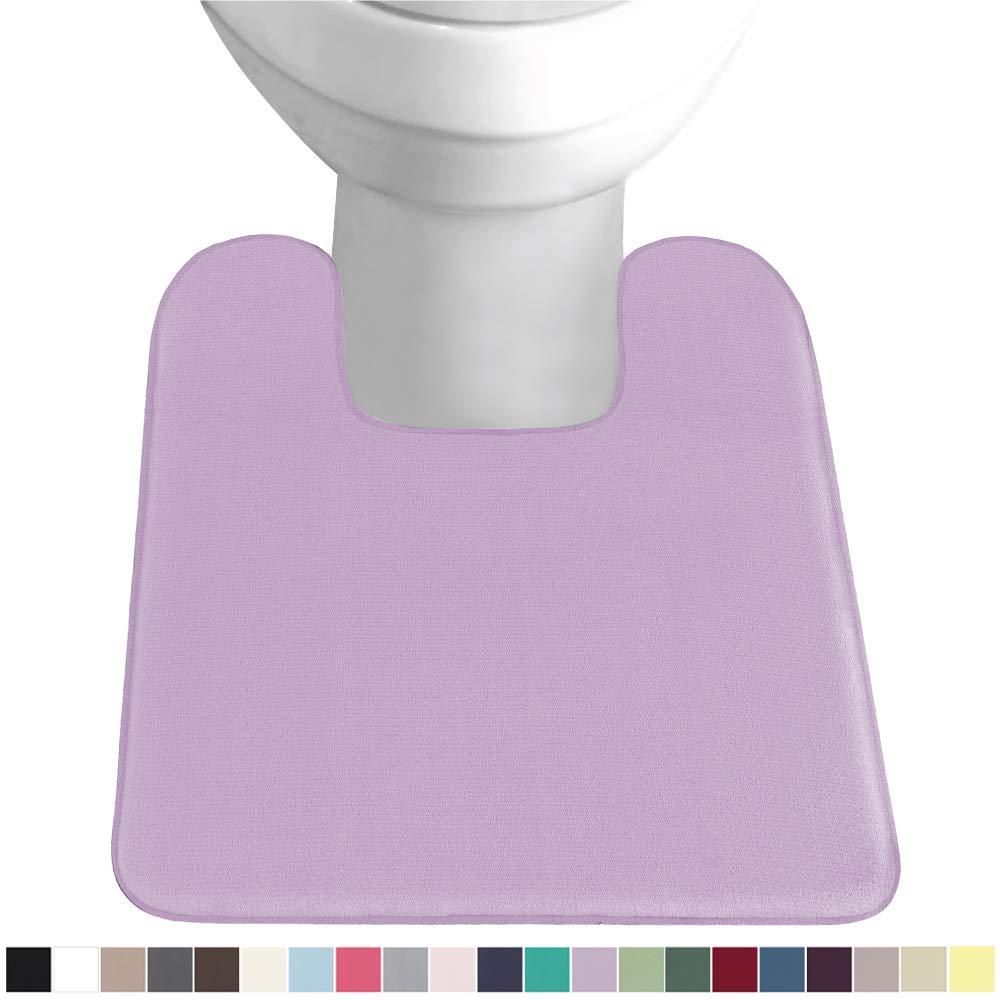 Gorilla Grip Original Thick Memory Foam Contour Toilet Bath Rug 22.5x19.5, Square, Cushioned Floor Mats, Absorbent Premium Bathroom Mat Rugs, Machine Wash and Dry, Plush Bath Room Carpet, Soft Purple