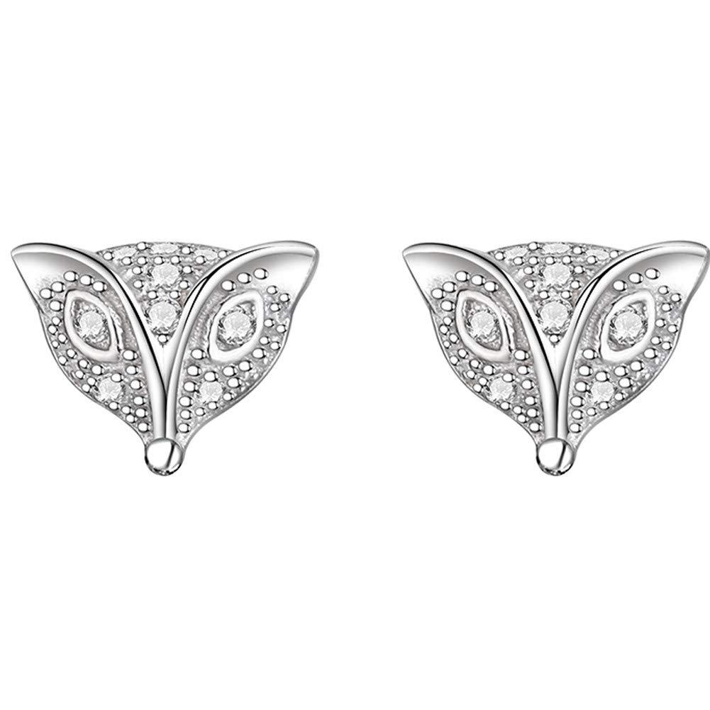 Fox Stud Earrings Hypoallergenic Diamond Luck Animal for Women Girl Zirconia White Simple Vintage With Romantic Elegant Earring Piano Paint Jewelry Diamond Shaped Box Case Christmas Gift