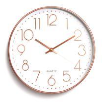 Wall Clock Battery Operated Silent Non-Ticking Wall Clock 12inch Modern Quartz Design Decorative Indoor/Kitchen Rose Golden …