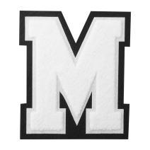 "6 1/2"" White Chenille Letter Heat Seal - M"