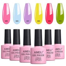 AIMEILI Soak Off UV LED Gel Nail Polish Multicolor/Mix Color/Combo Color Set Of 6pcs X 10ml - Kit Set 24