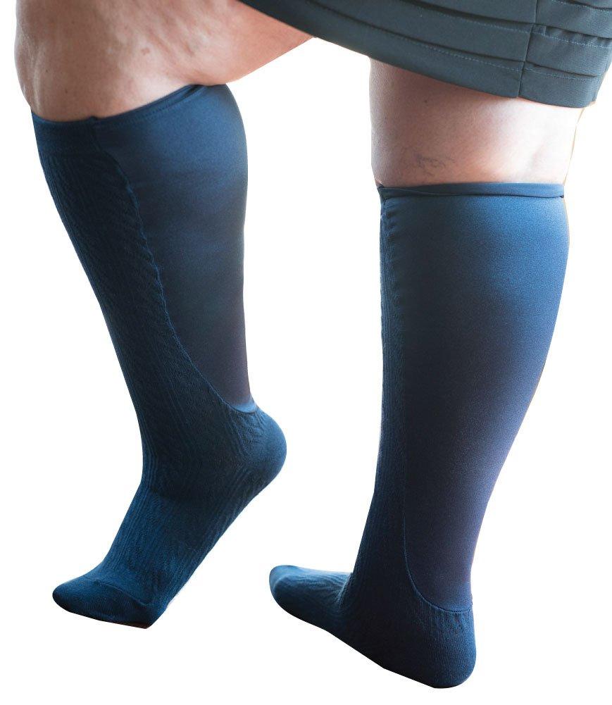 Xpandasox Women's Plus Size Calf/Wide Calf cotton blend Knee High Socks