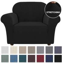 Turquoize Stretch Chair Slipcover Sofa Cover Furniture Protector Cover for Living Room Sofa Couch Cover Chair Covers with Elastic Bottom, Checked Jacquard Thick Fabric Machine Washable (Chair, Black)