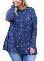OHDREAM Womens Plus Size Polka Dot Shirt Long Sleeve Tops Crew Neck Casual Tunic with Elbow Patch