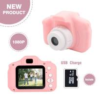 Kids Digital Camera,MERLINAE Mini Video with 2.0 inch Screen for Children Birthday Gift,Children Toy Action Toddler Recorder 1080P for Boys Girls Age 3-12 Education Pink