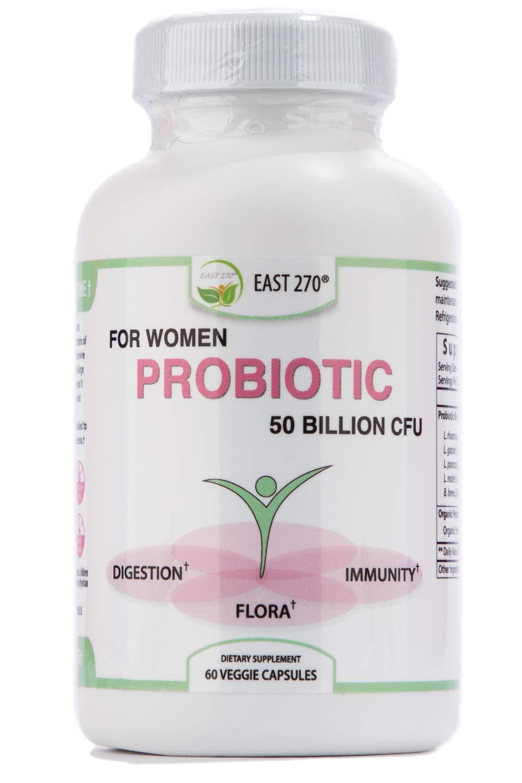 Probiotic for Women 50 Billion CFU, 16 Strain Advance Strength, Organic Prebiotics. Survives Stomach Acid and Bile. 60-Count Bottle, Shelf Stable.