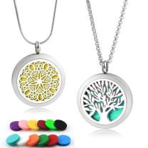 2 Pcs of Lademayh Women Aromatherapy Diffuser Necklaces for Essential Oils- Tree of Life & Flower Design 316L Stainless Steel Diffuser Necklace Jewelry Gifts for Girls