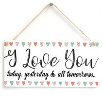 """Meijiafei I Love You Today, Yesterday & All Tomorrows. - Romantic Cute Sign for Your Partner 10""""x5"""""""