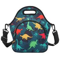 Violet Mist Neoprene Thermal Insulated Lunch Bag Tote Large with Extra Pocket Detachable Adjustable Shoulder Lunchbox Handbags Women Girls Boys, Dinosaur-3