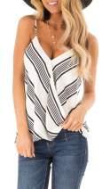 SAUKOLE Women's Adjustable Spaghetti Strap Button Down Shirts Blouses V Neck Floral Print Summer Sleeveless Casual Tank Tops