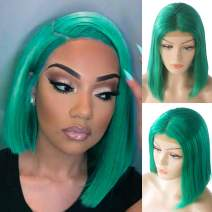 Short Bob Wigs for Black Women Human Hair Lace Front Wigs Real Remy Hair Pre Plucked Bleached Knots Soft Silky Straight Glueless 180% Density Brazilian Virgin Human Hair Bob Middle Part Green 8 Inch