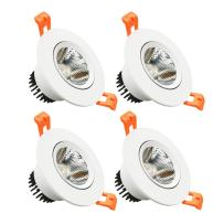 LightingWill LED Downlight 4-Pack 5W CRI>80 387LM Directional Recessed COB Fixture Cut-Out 2.5in(65mm) Dimmalbe 60 Beam Angle 3000K-3500K Warm White Ceiling Bulb 50W Halogen Bulb Equivalent