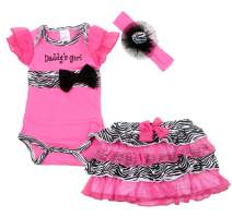 Coralup Newborn Baby Girl's Romper Dress with Headband 3pcs Outfit Set