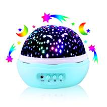 Star Moon Projector Lamp, 360° Rotational LED Night Light with 8 Colors