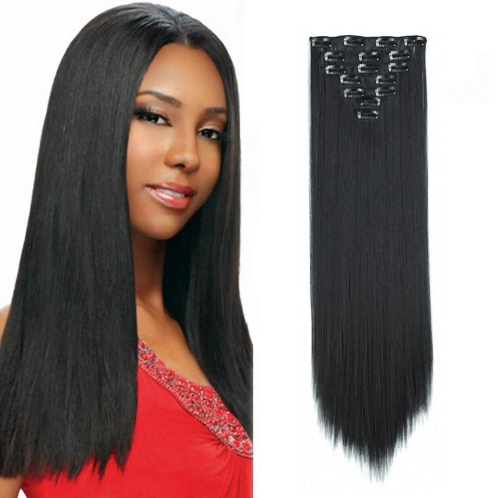 Clip In Hair Extensions 7 Piece Cheap Synthetic Long Straight For Women Natural Black Color 1B 22 Inch 7Pc 16 Clips HairPiece Clip On Hair Pieces