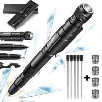 Tactical Pen, Sangabery 6 in 1 Tactical Pen: Self Defense Tip + Flashlight + Ballpoint + Bottle Opener + Screw Driver + Hexagonal Wrench, 5 Ink Refills + 12 Batteries + Gift Box, Present for Men/Fath