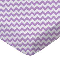 SheetWorld Fitted Basket Sheet - Lilac Chevron Zigzag - Made In USA