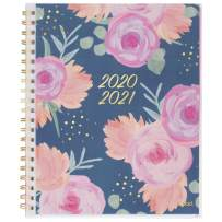 """Academic Planner 2020-2021, Mead Weekly & Monthly Planner, 8-1/2"""" x 11"""", Large, Customizable, Arabella Navy Floral (1387N-901A) (1387N-901A-21)"""