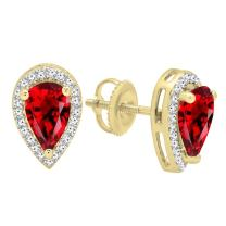 Dazzlingrock Collection 14K 8X5 MM Each Pear Gemstone & Round Diamond Teardrop Stud Earrings, Yellow Gold