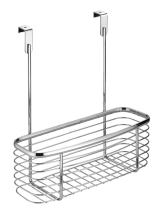 "iDesign Axis Small Metal Over the Cabinet Kitchen Storage Basket Organizer for Aluminum Foil, Sandwich Bags, Cleaning Supplies, Garbage Bags, Bath Supplies, 11"" x 5"" x 12"" - Chrome"