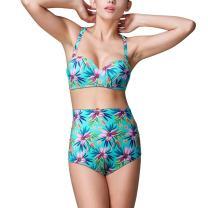Walant Women's Summer Beachwear Floral Print High Waisted Split Swimsuit Bikini