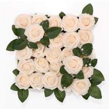 Meiliy 60pcs Artificial Flowers Cream Roses Real Looking Foam Roses Bulk w/Stem for DIY Wedding Bouquets Corsages Centerpieces Arrangements Baby Shower Cake Flower Decorations