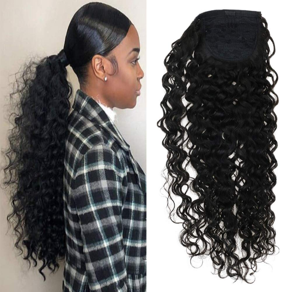 VeSunny 14inch Kinkys Curly Clip on Ponytail Extension Brazilian Human Hair Natural Color #1B Curly Ponytail Hair Piece Real Human Hair For Black Women 80G/Set
