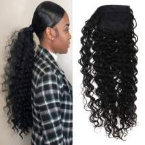 VeSunny 18inch Kinkys Curly Clip on Ponytail Extension Brazilian Human Hair Natural Color #1B Curly Ponytail Hair Piece Real Human Hair For Black Women 80G/Set