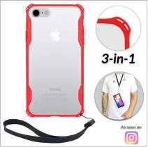 New iPhone 7 Plus & 8 Plus Clear Slim Case with Wrist Strap & Lanyard | Best Rugged TPU Bumper Case | Loop Attachments for Leash, Tether etc – iPhones: Xs X Xr Xs Max X 8 7 6 6s Plus (Red)