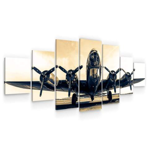 Startonight Huge Canvas Wall Art - B-17G Flying Fortress Large Modern Framed Set of 7 40 x 95 Inches