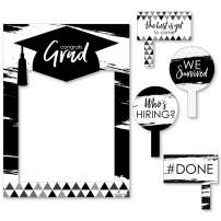 Big Dot of Happiness Black and White Grad - Best is Yet to Come - Black and White Graduation Party Selfie Photo Booth Picture Frame and Props - Printed on Sturdy Material
