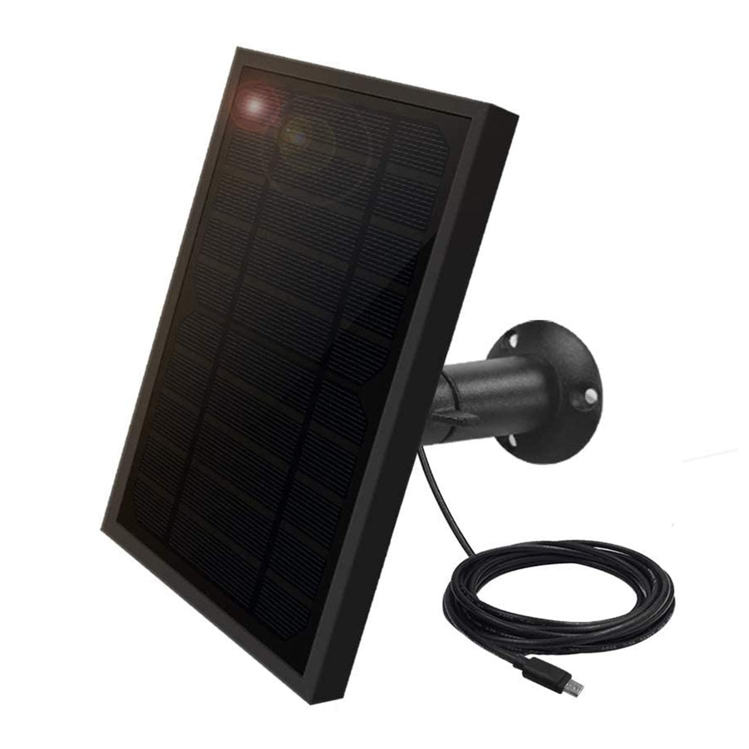 Weatherproof Solar Panel for Indoor / Outdoor Battery Powered Security Camera, Solar Panel Power Supply for ViewZone Wireless Security Camera, 5V 1A Micro USB Port, Adjustable Mounting Bracket