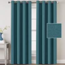H.VERSAILTEX Linen Blackout Curtains 84 Inches Long for Bedroom/Living Room Thermal Insulated Grommet Curtain Drapes Primitive Textured Linen Burlab Effect Window Draperies 2 Panels - Aegean Blue