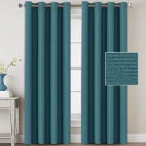 H.VERSAILTEX Linen Blackout Curtains 108 Inches Long for Bedroom/Living Room Thermal Insulated Grommet Curtain Drapes Primitive Textured Linen Burlab Effect Window Draperies 2 Panels - Aegean Blue